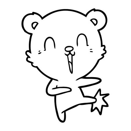happy cartoon polar bear kicking Vector illustration.