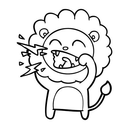 Cartoon roaring lion illustration on white background. Banque d'images - 95663604
