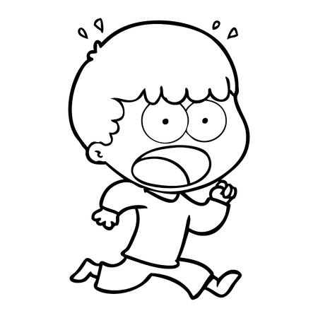 A cartoon shocked man running away isolated on white background. Иллюстрация