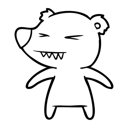 Angry bear cartoon illustration on white background.