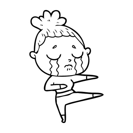 cartoon crying woman dancing Vector illustration.