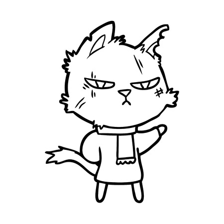 Tough cartoon cat in winter scarf illustration on white background.