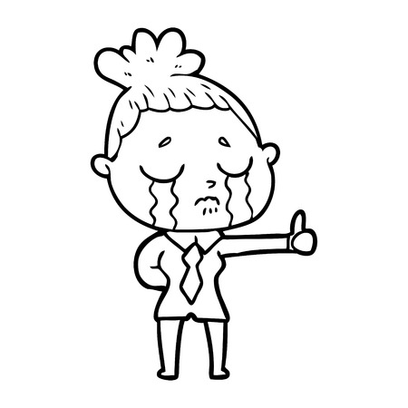 cartoon crying businesswoman Vector illustration.