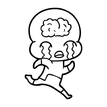 白い背景に隔離された漫画の大きな脳エイリアンの泣き声。