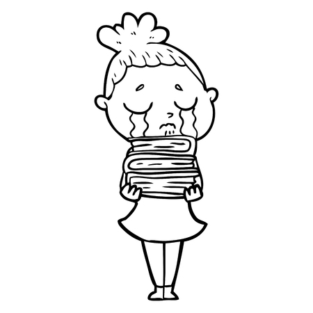 A cartoon crying woman with stack of books isolated on white background.