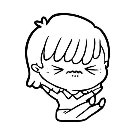 Annoyed cartoon girl falling over isolated on white background.