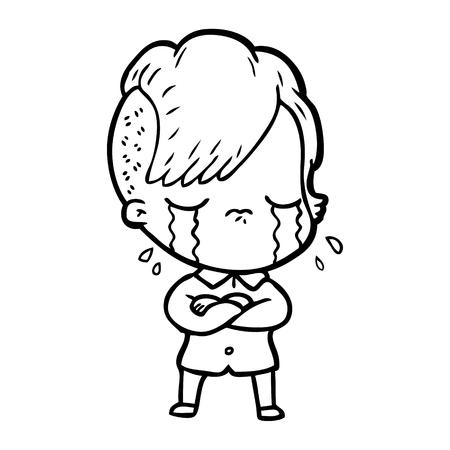 cartoon crying girl with crossed arms Vector illustration. Illusztráció