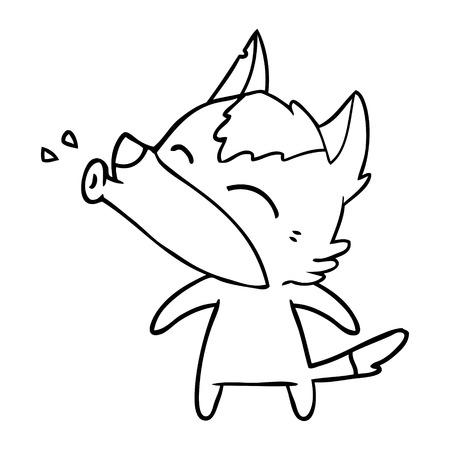 howling wolf cartoon Vector illustration.