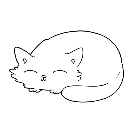 A cartoon cat sleeping isolated on white background.