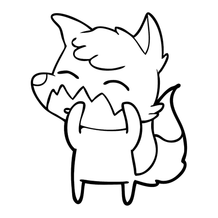 Cite cartoon fox illustration on white background.