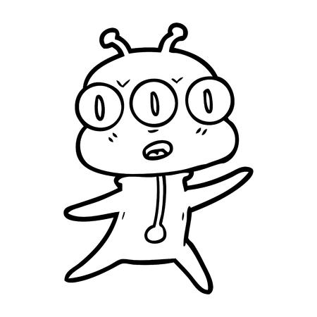 cartoon three eyed alien Vector illustration.