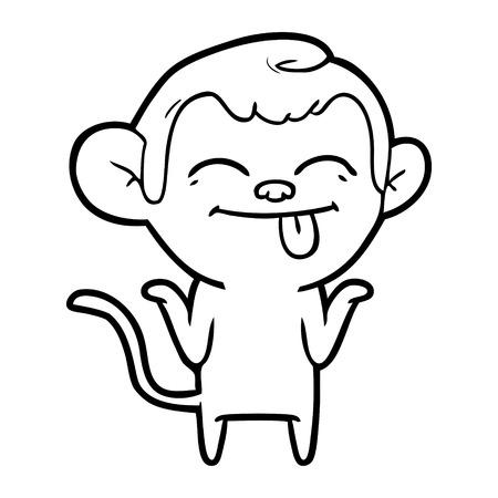 funny cartoon monkey Vector illustration.