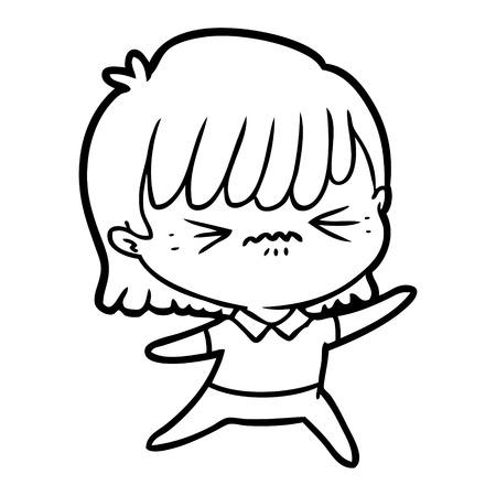 Annoyed cartoon girl isolated on white background. Illustration