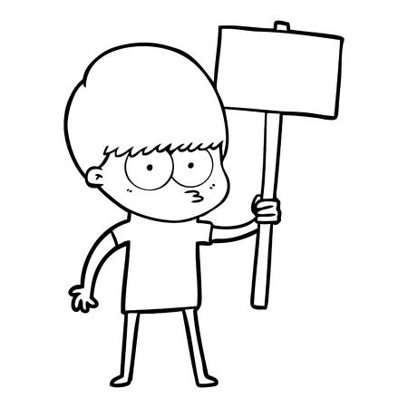 A nervous cartoon boy holding placard isolated on white background. Illustration