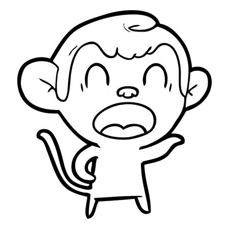 Shouting cartoon monkey pointing illustration on white background. Stock fotó - 95663560