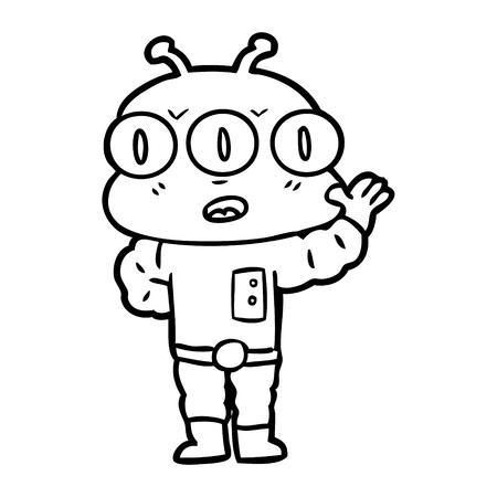 Cartoon three eyed alien illustration on white background.