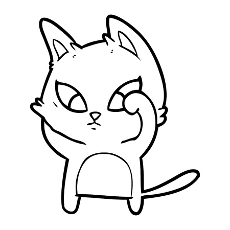 Confused cartoon cat illustration on white background.