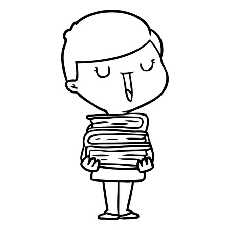 cartoon happy boy with stack of books Vector illustration. Illustration