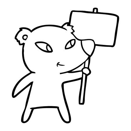 cute cartoon polar bear with protest sign Vector illustration.