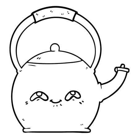 Cartoon kettle illustration on white background.  イラスト・ベクター素材