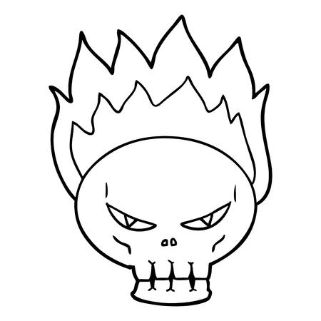 cartoon flaming skull Vector illustration. Ilustrace