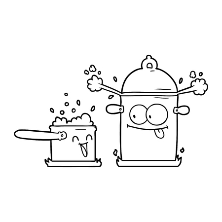 Sprudelnde Pfannen Cartoon Vektor-Illustration. Standard-Bild - 95737056