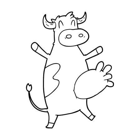 A cartoon cow swinging udder isolated on white background.