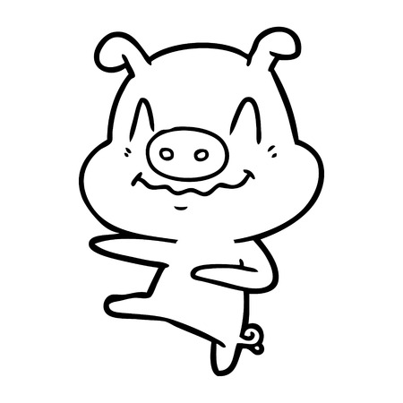 A nervous cartoon pig dancing isolated on white background.
