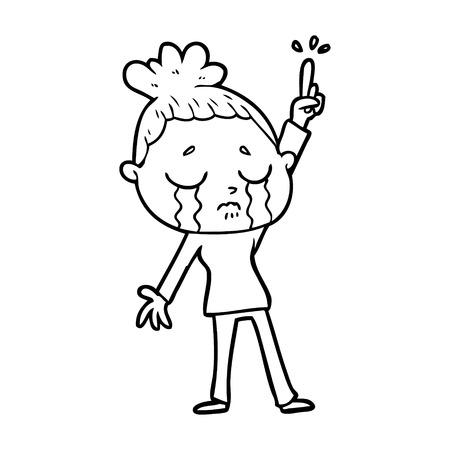 cartoon crying woman raising hand Vector illustration.