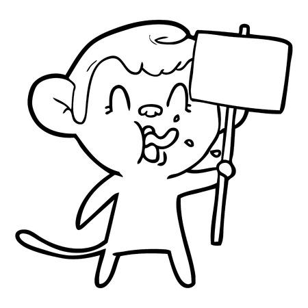 Crazy cartoon monkey with sign illustration on white background. Illustration