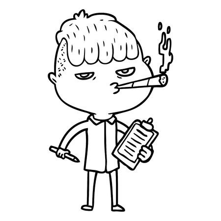 漫画のセールスマン喫煙ベクターイラスト。  イラスト・ベクター素材