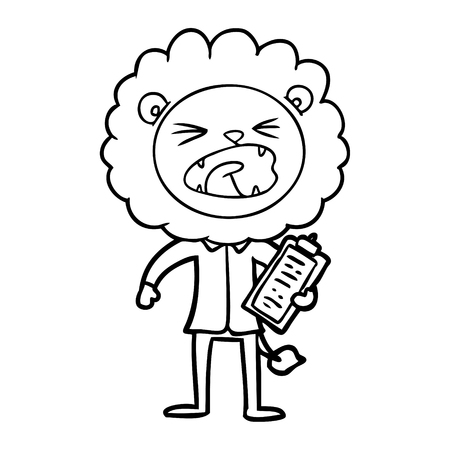 cartoon lion salesman Vector illustration. Ilustrace