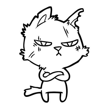 tough cartoon cat folding arms Vector illustration. Illustration
