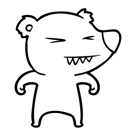 Angry bear cartoon isolated on white background. Illustration