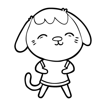 Happy cartoon dog illustration on white background.