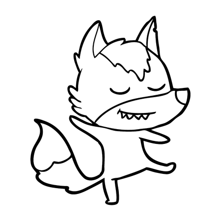 Friendly cartoon wolf balancing illustration on white background.