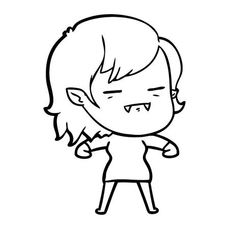 Ein un-totes Vampirsmädchen der Karikatur lokalisiert auf weißem Hintergrund. Standard-Bild - 95679046