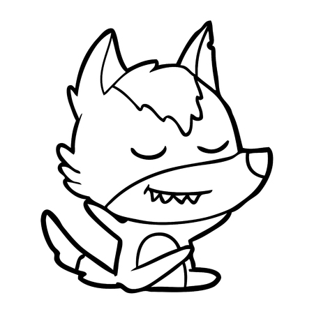 A friendly cartoon wolf sitting isolated on white background.
