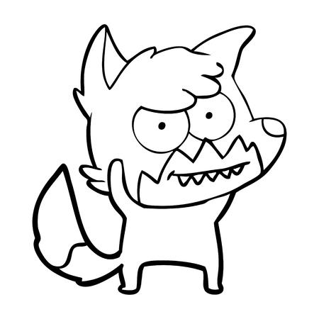 Cartoon grinning fox illustration on white background.