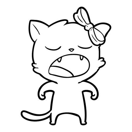 cartoon yawning cat Vector illustration.