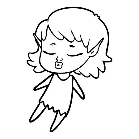 かわいい漫画エルフガール飛行ベクターイラスト。