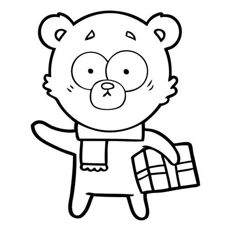 nervous christmas bear cartoon Vector illustration. Stock Illustratie