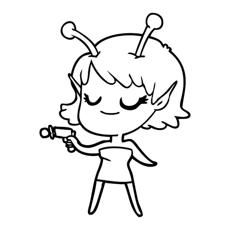 Smiling alien girl cartoon pointing ray gun illustration on white background. Illustration