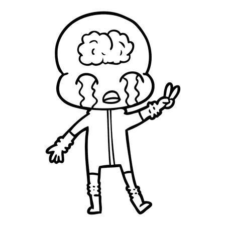 漫画大脳エイリアン泣きとピースサインベクターイラストを与えます。  イラスト・ベクター素材