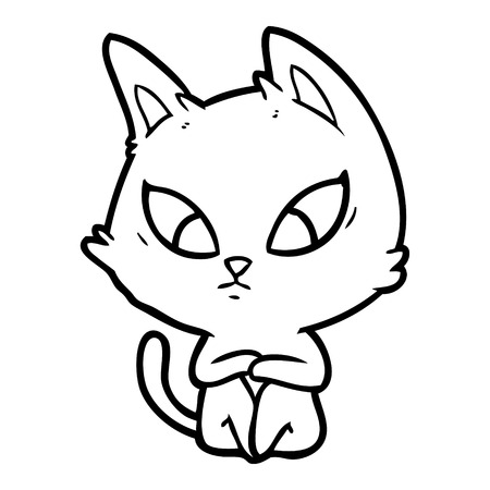 confused cartoon cat Vector illustration.