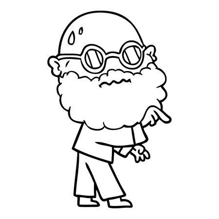 cartoon worried man with beard and spectacles pointing finger Vector illustration. Illustration