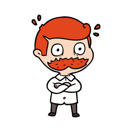 Cartoon man with mustache shocked illustration on white background.