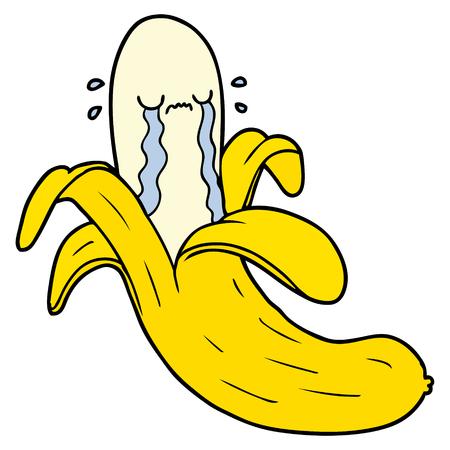 A cartoon crying banana isolated on white background.