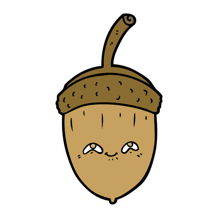 cartoon acorn Vector illustration.
