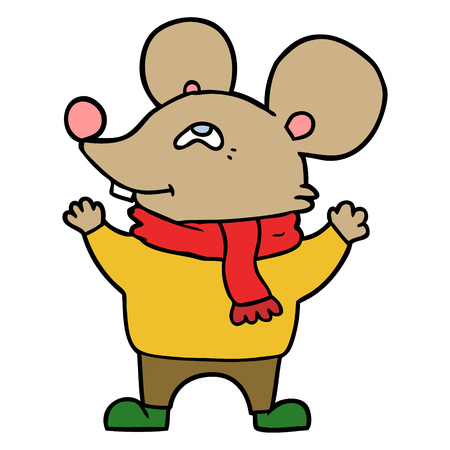 cartoon mouse wearing scarf Vector illustration. Ilustracja